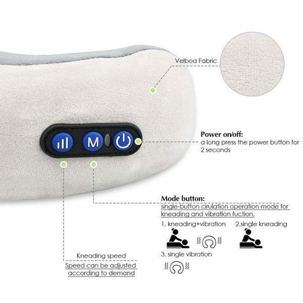 U shaped pillow massager button